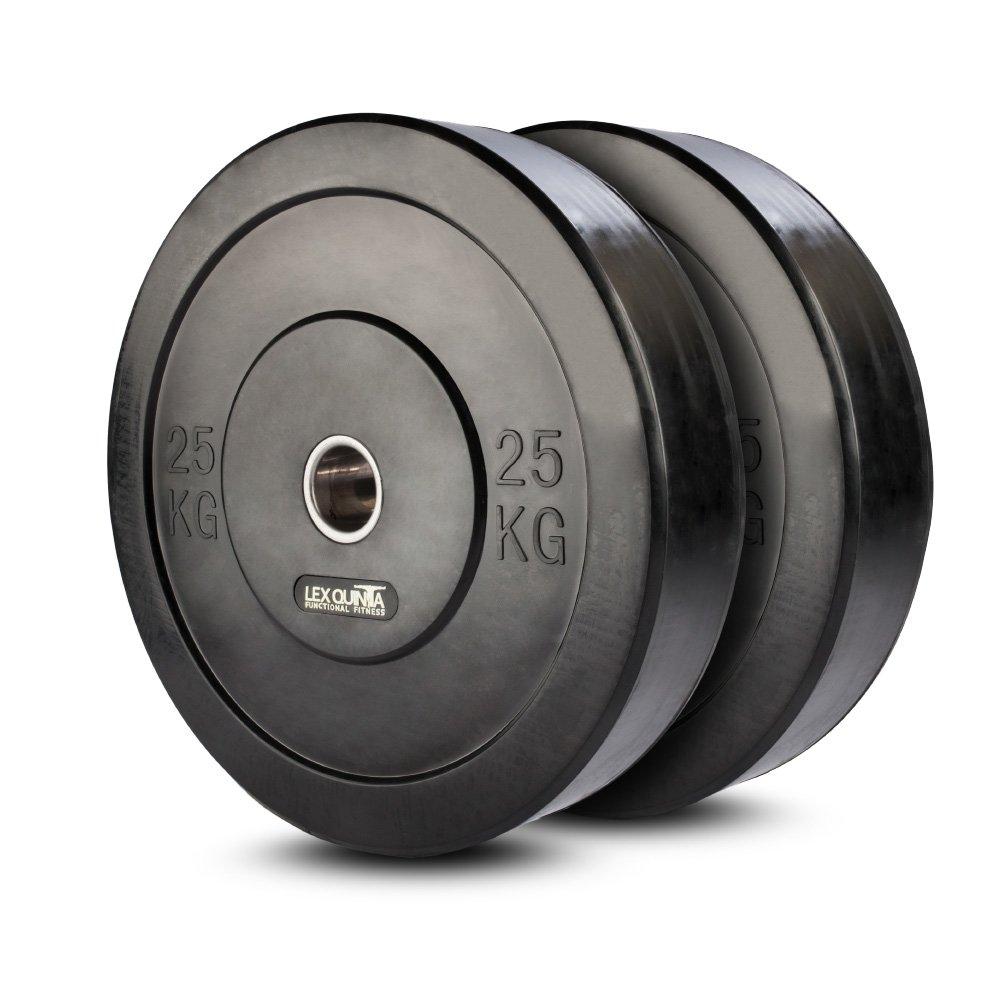 Lex Quinta Bumper Plate//Vollgummi 2x25kg Hantelscheiben f/ür 50mm Hantel Stangen